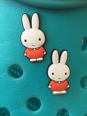 2 Miffy the Rabbit Shoe Charms For Crocs & Jibbitz Wristbands. Free UK P&P.