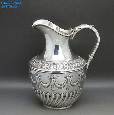 Antique Victorian Beautiful Solid Sterling Silver Hot Water Jug, Sheffield 1891