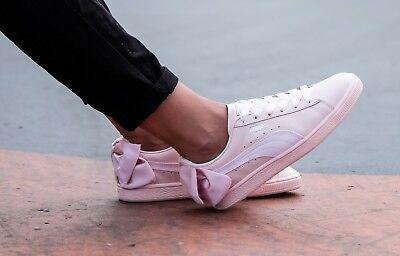 PUMA BASKET BOW PEARL ROSA FIOCCO SCARPE SHOES CHAUSSURES ZAPATOS SCHUHE PELLE