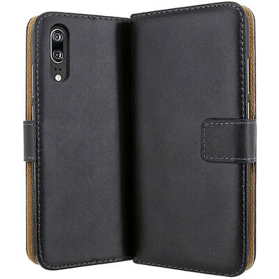 Luxury Genuine Leather Wallet Card Slots Stand Case Cover For Huawei P20 P Smart
