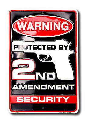 Protected by Gun 2nd Blechschild Flach Neu aus USA 20x30cm S3350
