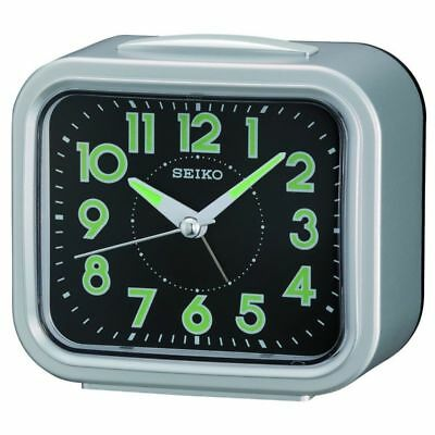 Seiko Bell Alarm Clock With Snooze And Light - Qhk023S - Silver / Black