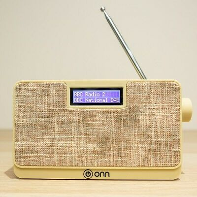 NEW ONN DS548-C DAB+ Digital Radio Backlit LCD Display Mains & Battery - Cream