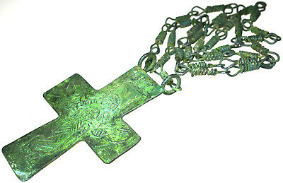 Large Byzantine Bronze Christian Cross Pendant with Long Chain
