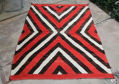 """Dramatic Antique 19th Century Navajo Transitional Wearing Blanket 59"""" x 80"""" rug"""