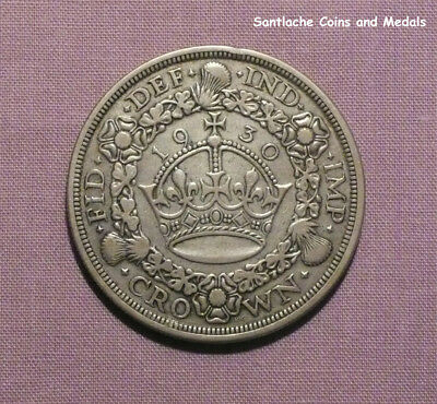 1930 King George V Silver Wreath Crown - Scarce Low Issue Coin
