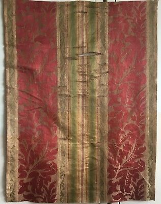 Beautiful Antique Early 19th French Woven Silk Striped Jacquard Fabric (2372)