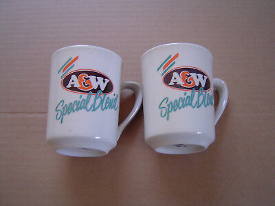 Vintage A&W Root Beer Special Blend Coffee Cups Lot of 2 Melange Special