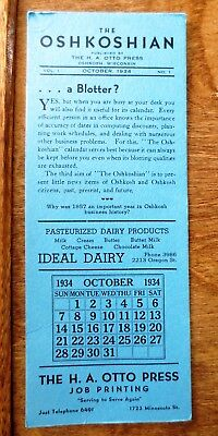 Vintage 1934 Oshkoshian Oshkosh Wisconsin October Calendar Advertising Blotter