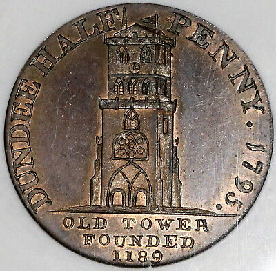 1795 NGC MS 63 Ancient Tower Harbor Ship Conder 1/2 Penny Dundee DH10 (18032502D