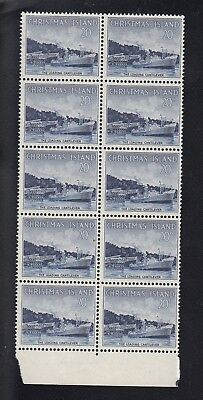 CHRISTMAS ISLAND 1963 20c LOADING CANTILEVER block of 10, Mint Never Hinged