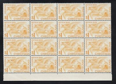 CHRISTMAS ISLAND 1963 $1 TROPIC BIRD block of 16, Mint Never Hinged