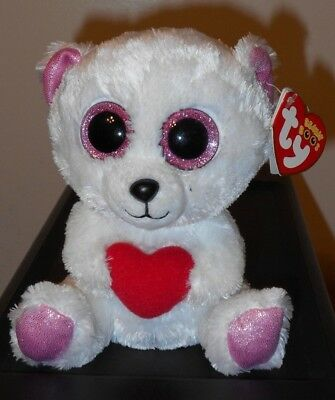 """NM* Ty Beanie Boos ~ SWEETLY the 6"""" White Bear with Heart~ NM w/ MINT TAGS"""