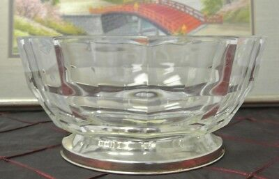 Godinger Crystal /Silver Plate Base Glass Bowl Made in Italy Geometric Cut Decor