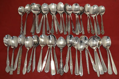Vintage Stainless Silverware Flatware Lot of 52 Sugar Spoons Catering Church etc