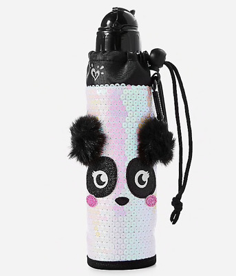 Justice Girl's PANDA Sequin Sleeved Water Bottle NWT
