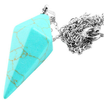 Faceted Blue Howlite Turquoise Stone Point Dowsing Healing Pendulum with Chain