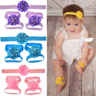 Cute Baby Girl Newborn Infant Headband Head Foot Flower Elastic Hair Accessories