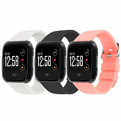 3 Pack S/L Sport Strap Replacement Bands for Fitbit Versa Smartwatch Wristbands