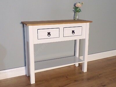 Corona White Painted 2 Drawer Console Table Hallway Side by Mercers Furniture