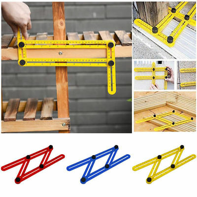Adjustable Four-Sided Folding Measuring Tool Multi Angle Template Scale Ruler 1H