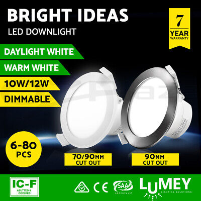 Lumey LED Downlight Kit 10W 12W 70mm 90mm Dimmable Warm Cool White Ceiling