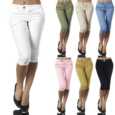 UK Women 3/4 Length Skinny Pants Ladies Casual Cropped Stretch Leggings Trousers