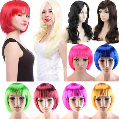 Womens Ladies Short Bob & Long Curly Fancy Dress Cosplay Wigs Pop Party Costume