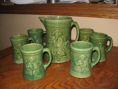 Circa 1920s McCoy Pottery Seven Piece Beverage Set With Buccaneer Pirate