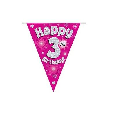 Happy 3rd Birthday Holographic Bunting 3.9 metres long 11 Flags Pink & Silver