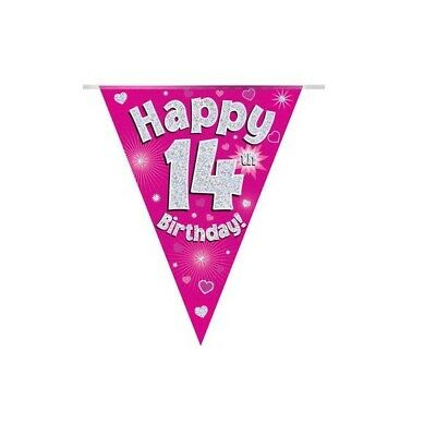 Happy 14th Birthday Holographic Bunting 3.9 metres long 11 Flags Pink & Silver