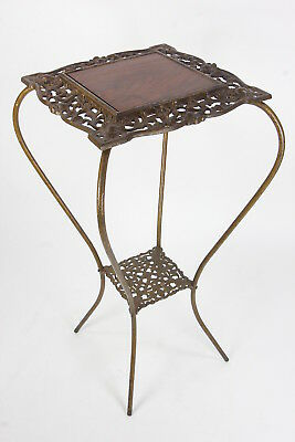 Antique Victorian Style Cast Iron Plant Stand 2-Tier Walnut Top Scroll-Work
