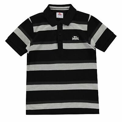 Lonsdale Kids Boys Stripe Polo Junior Shirt Classic Fit Tee Top Short Sleeve