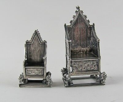 Pair of 1901 EDWARDIAN Sterling Silver CORONATION THRONES Gourdel&Vales,S&S 1901