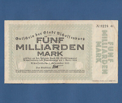 ASCHAFFENBURG 5 Milliarden Mark 1923 Erh. III- / VF-