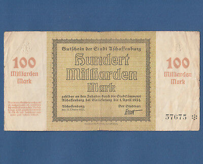 ASCHAFFENBURG 100 Milliarden Mark 1923 Erh. IV / Fine