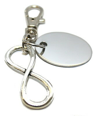 Engraved / personalised metal infinity (small) keyring in gift pouch BR661