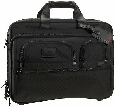 Tumi Alpha Deluxe Wheeled Brief with Laptop Case Black Bag, Style 026127DH