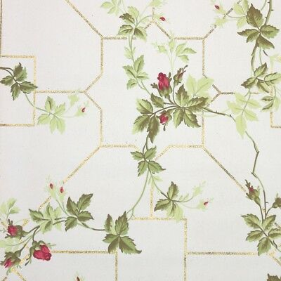 Early 1900s Antique Floral Vintage Wallpaper Pink Rosebuds and Gold Glitter