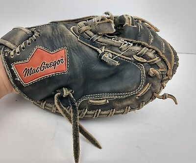 MACGREGOR Vintage Black Baseball Catchers Mitt Glove Right Handed Throw Leather