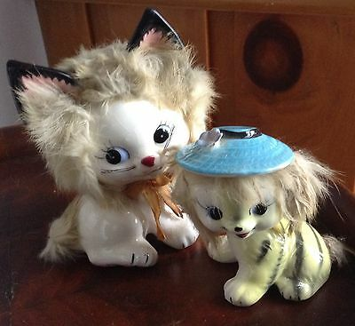 Vintage pair of the cutest porcelain kittens you ever saw
