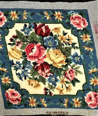 Elegant Victorian Floral Pillow Top Vintage Finished Completed Wool Needlepoint