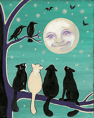 11x14 print of PAINTING RYTA ABSTRACT FOLK ART HOUSES TUXEDO CAT CROW  LANDSCAPE