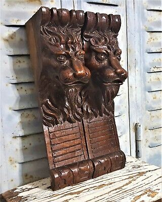 Pair Gothic Lion Corbel Bracket Antique French Carved Wood Salvaged Ornament
