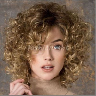 Fashion Lady Women's Short Brown Blonde Mixed Curly Wave Hair Full wigs+Wig Cap