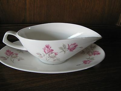 Queensberry Fine Bone China~English Rose~ Gravy/Sauce Boat and Stand Pretty Pink