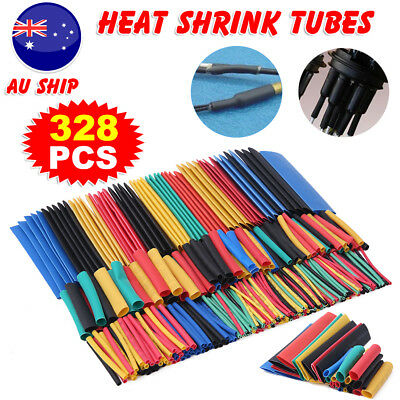 328Pcs Heat Shrink Wire Cable Tubing Tube Sleeve Wrap Shrinkage Ratio 2:1 Set AU