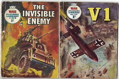 """Dated 1959. TWO x Vintage """"WAR PICTURE LIBRARY"""" Comics #'s 22 and 24"""