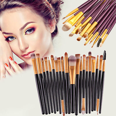 20PCS Cosmetic Makeup Brush Foundation Eyeshadow Eyeliner Lip Powder Brushes UK