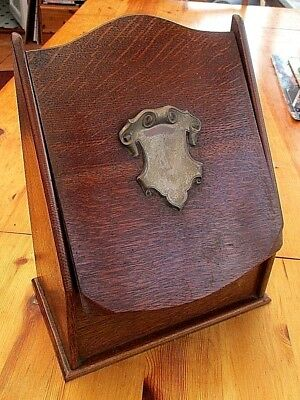 Antique Unusual Oak Desk Top Letter Rack With Sliding Lid And  Metal Crest